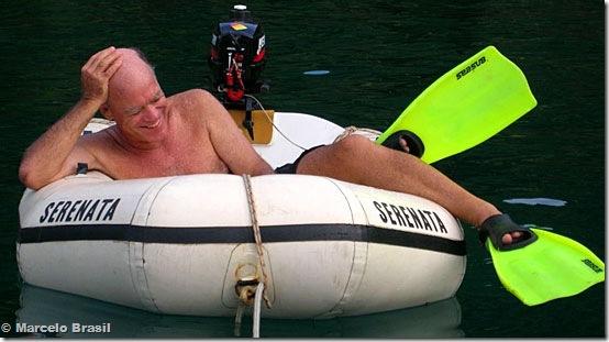 Puro deleite: Caio, do Miroca, no bote de Marcelo Brasil