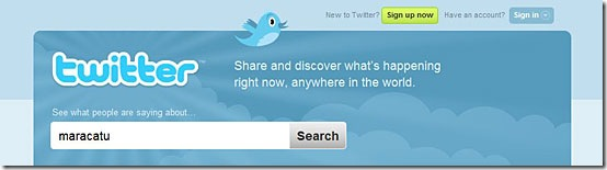 Página inicial do Twitter