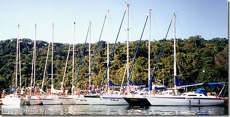 Flotilha da Veleiro.net na ilha do Cedro - Foto © Hélio Viana