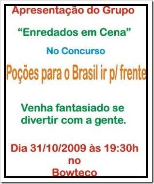 Cartaz da festa no Bowteco