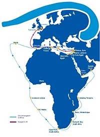 A rota da expedição Phoenicia