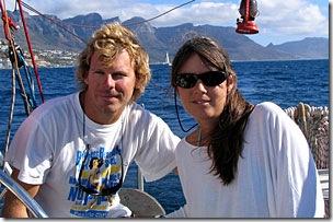 Christian e Fernanda velejando na África doSul