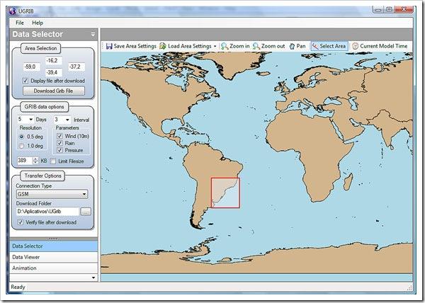 Selecione a area desejada com o mouse, defina os parametros e baixe o arquivo GRIB