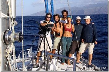 Tripulantes do Fraternidade nas Marquesas